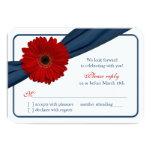 Rotes Gerber Gänseblümchen-Marine-blaues 8,9 X 12,7 Cm Einladungskarte