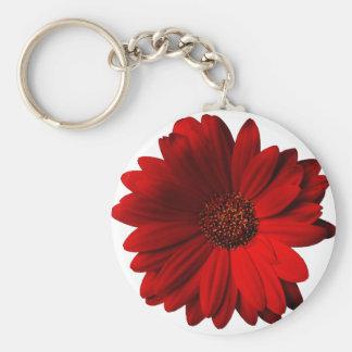 Rotes Gerbera-Gänseblümchen Standard Runder Schlüsselanhänger