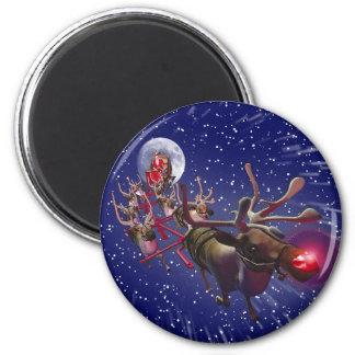 Rotes gerochenes Ren Fliegen-Weihnachtsmanns Magnets