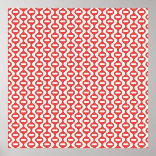 Rotes gewelltes Retro Muster Plakat