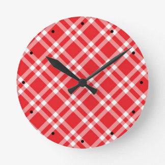 Rotes Gingham-Muster Runde Wanduhr