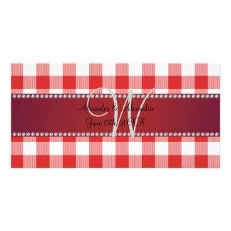 Rotes Gingham-Schachbrett des Hochzeitsmonogramms Bilderkarten