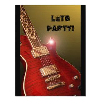 rotes Gitarren-Party laden ein 10,8 X 14 Cm Einladungskarte