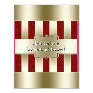 Rotes Glitter-Gold Stripes Polterabend des Karte