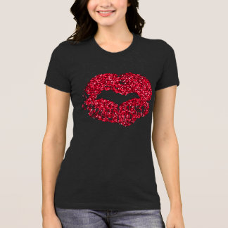 Rotes Glitter-LippenShirt T-Shirt