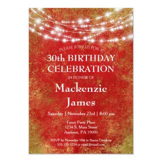 Rotes Gold beleuchtet Geburtstags-Party Karte