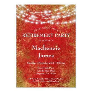 Rotes Gold beleuchtet Ruhestands-Party Einladung