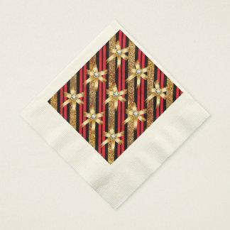 Rotes Gold u. schwarze Papierservietten