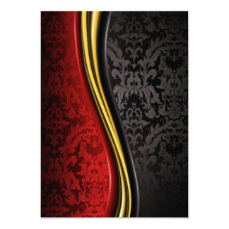rotes Gold und schwarze barocke Einladung kardiert