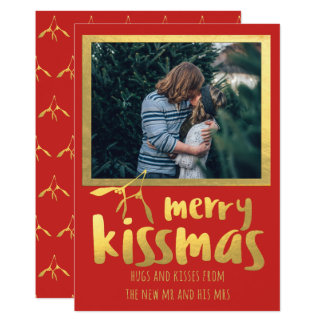 Rotes Goldfröhliche Kissmas Feiertags-Foto-Karte 12,7 X 17,8 Cm Einladungskarte