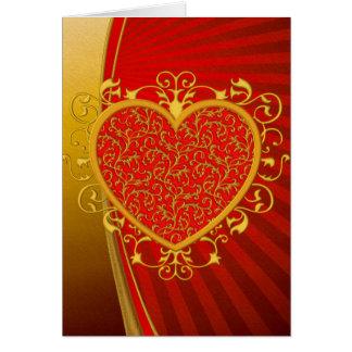 Rotes GoldLilien-Herz Karte