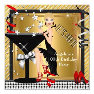 Rotes Goldsilber-Schwarz-Martini-Geburtstags-Party Quadratische 13,3 Cm Einladungskarte