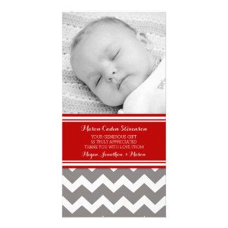 Rotes Grau danken Ihnen Baby-Duschen-Foto-Karten Photo Karte