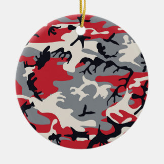 Rotes graues Camouflage-Tarnungs-Muster Rundes Keramik Ornament