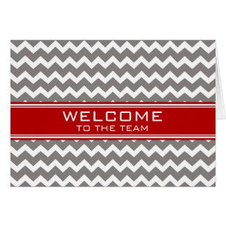 Rotes graues Zickzack Angestellt-Willkommen zum Karte
