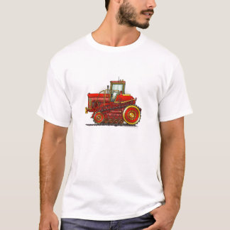 Rotes großes Bulldozer-Traktor-Kleid T-Shirt