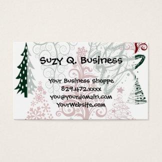 Rotes grünes Feiertags-Weihnachtsbaum-Muster Visitenkarte
