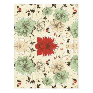 rotes grünes graues Jademit blumenmuster der Blume Postkarten
