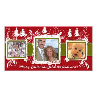 Rotes grünes Grunge-Kiefern-Wirbels-Feiertags-Fami Fotokarten