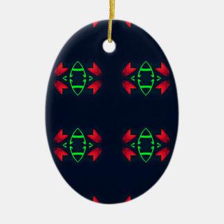 Rotes grünes modernes Weihnachten auf schwarzem Keramik Ornament