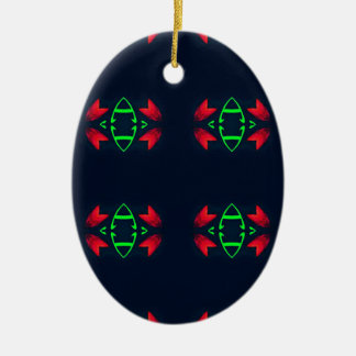 Rotes grünes modernes Weihnachten auf schwarzem Ovales Keramik Ornament