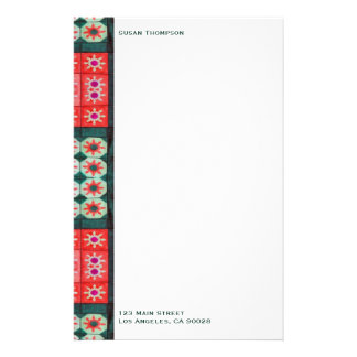 Rotes grünes Muster Personalisierte Büropapiere