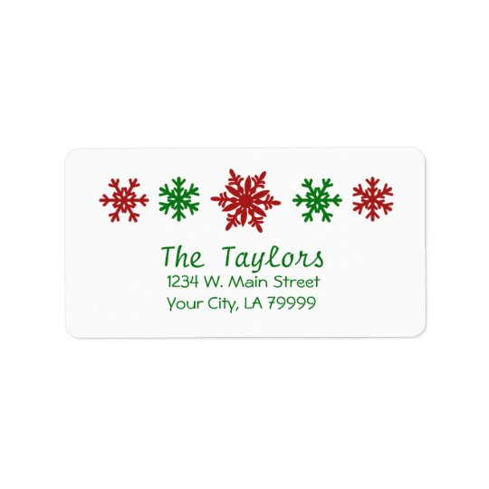 Rotes grünes Schneeflocke-Feiertags-Weihnachten Adressaufkleber