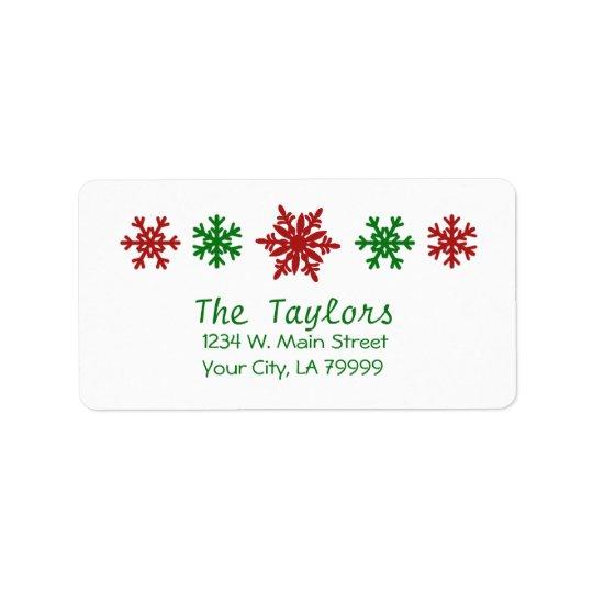 Rotes grünes Schneeflocke-Feiertags-Weihnachten Adressetikett