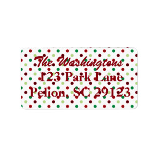 Rotes grünes u. weißes Tupfen-Weihnachten Adressaufkleber