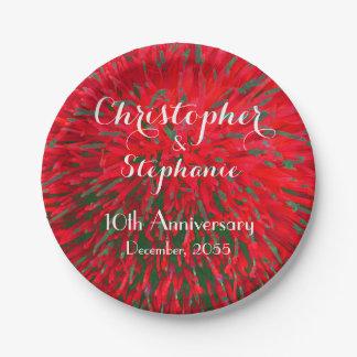 Rotes grünes Weihnachtshochzeits-Jahrestags-Party Pappteller