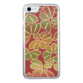Rotes grünes wunderliches Ikat Carved iPhone 8/7 Hülle