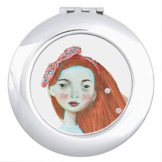 Rotes Hauptmädchen des kompakten Spiegels Liebe I Taschenspiegel