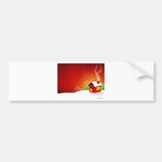 Rotes Haus-Weihnachten Autoaufkleber