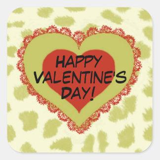 Rotes Herz am grünen Tierdruck-Valentinstag Quadratischer Aufkleber