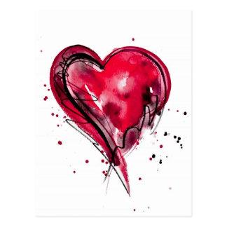 Rotes Herz-Aquarell Postkarte