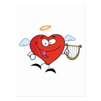 Rotes Herz-Engels-Fliegen mit einem Lyre Postkarte