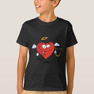 Rotes Herz-Engels-Fliegen mit einem Lyre T-Shirt
