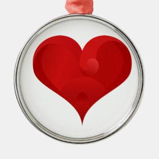 Rotes Herz für Valentinstag Silbernes Ornament