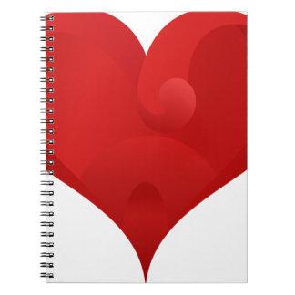 Rotes Herz für Valentinstag Spiral Notizblock