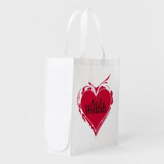 Rotes HERZ Kunst der EKLIGEN FRAU Wiederverwendbare Einkaufstasche