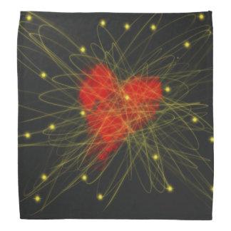 Rotes Herz mit Goldstern-abstraktem Kunst-Entwurf Halstuch