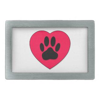 Rotes Herz mit Hundetatzen-Druck Rechteckige Gürtelschnallen