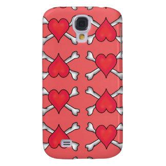 Rotes Herz und gekreuzte Knochen Pern Galaxy S4 Hülle