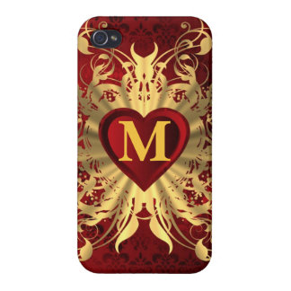 Rotes Herz- und Goldmuster mit Monogramm iPhone 4 Etuis