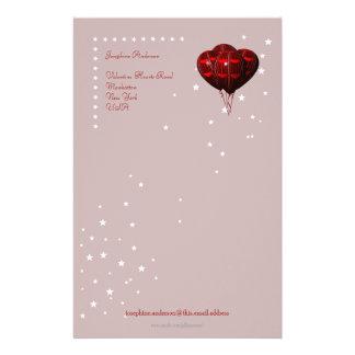 Rotes Herz-Valentinsgruß-Ballon-Schreibpapier Briefpapier