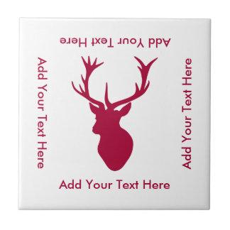 Rotes Hirsch-Kopf-Weihnachten oder Hirsch-Party Kleine Quadratische Fliese