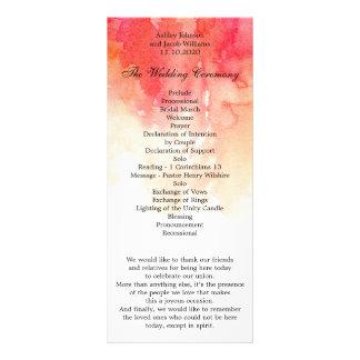 Rotes Hochzeitsprogramm des Aquarells. Werbekarte