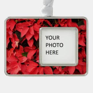 Rotes hübscher Weihnachtsfeiertag der Rahmen-Ornament Silber