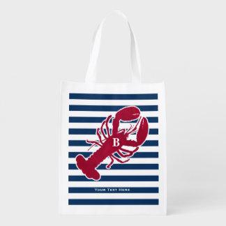 Rotes Hummer-nautischmonogramm-blauer weißer Wiederverwendbare Einkaufstasche