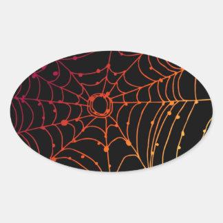 Rotes-ish Steigungsspinnennetz Ovaler Aufkleber